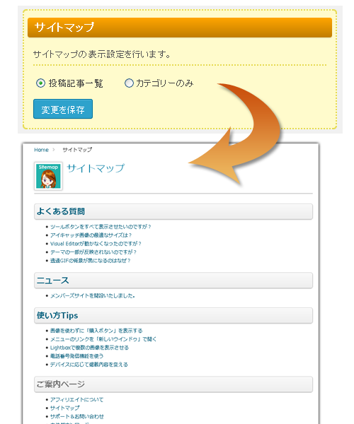 サイトマップページ